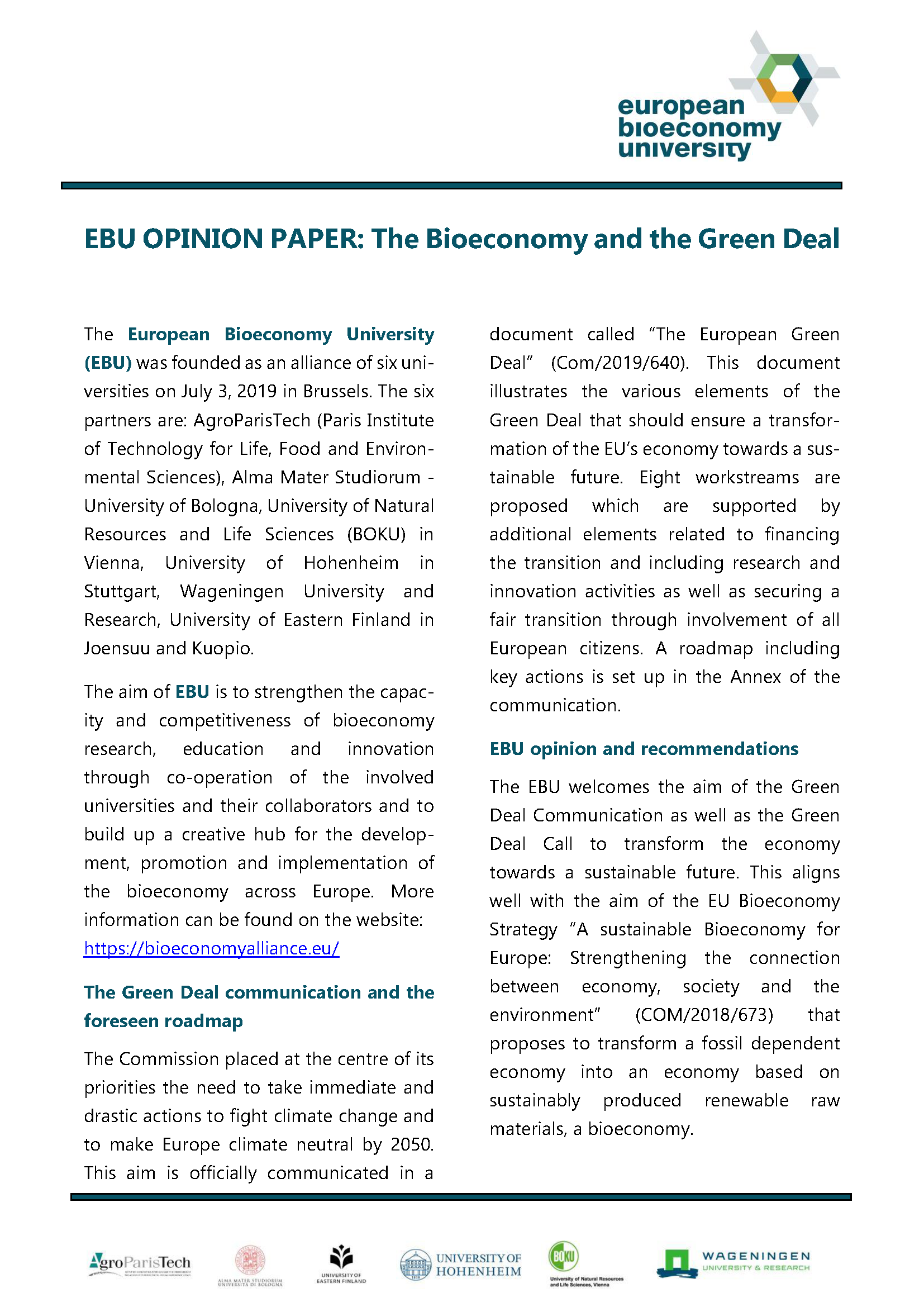 EBU Opinion Paper: The Bioeconomy and the Green Deal